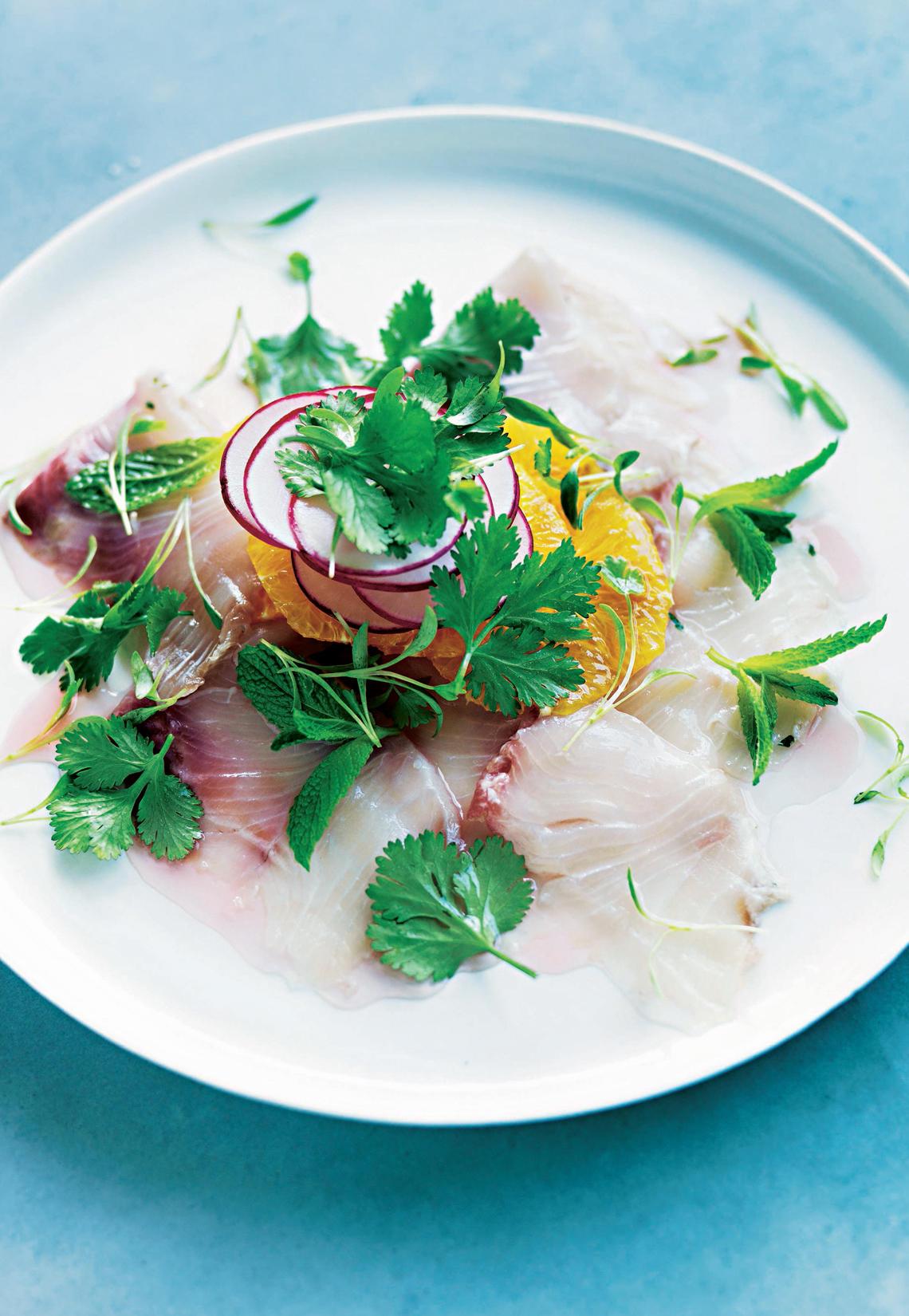 Gebeizte Zitrus-Minz-Makrele mit eingelegten Radieschen