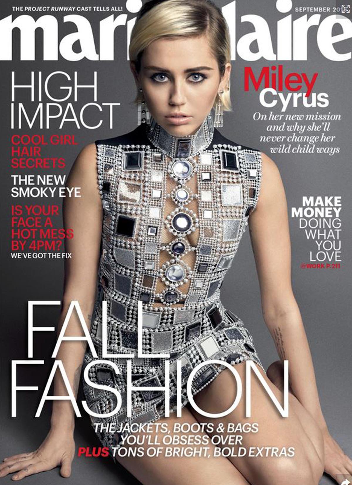 """Die Septemberausgabe der Zeitschrift """"Marie Claire"""" zeigt ein Shooting mit Miley Cyrus. Im Interview bekennt sie die drastischen Hintergründe ihres Hannah-Montana-Erfolgs und wie sie mit den Problemen heute klar kommt."""