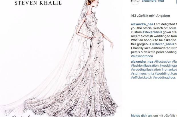 Die Illustratorin Alexandra Nea Graham teilte voller Stolz die Skizze von Storm Uechtritz Brautkleid. Designt hat den wunderschönen Entwurf Steven Khalil.