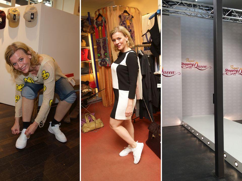 Ab in die Sneaker und los: Beim Shoppen wird die Zeit zu Eva Habermanns größter Hürde. Schafft sie es noch rechtzeitig auf den Catwalk?