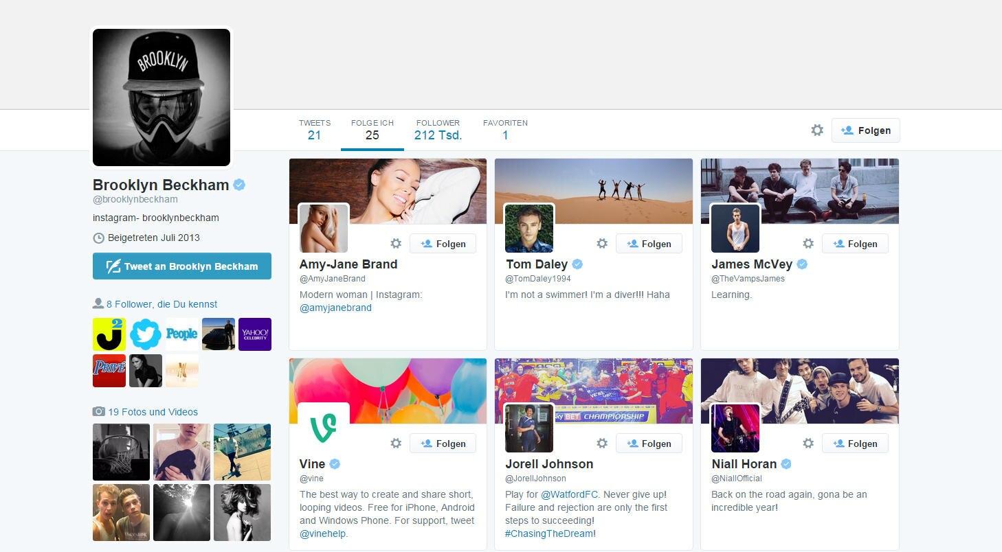 Brooklyn Beckhams Twitter-Account