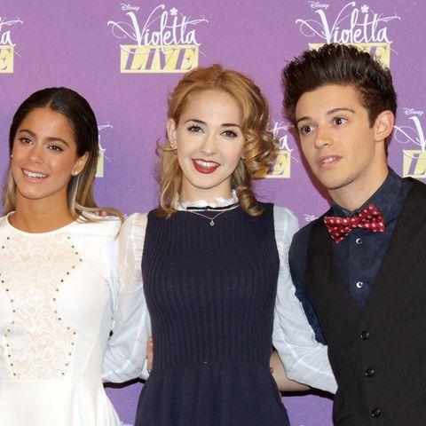 "Die ""Violetta""-Stars Martina Stoessel, Mercedes Lambre and Ruggero Pasquarelli (v.l.n.r)"