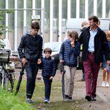 Patchwork royal: Prinz Joachim mit seinen vier Kindern (v.l.) Nikolai, Henrik, Felix und Athena bei einem Festival im August 2015.