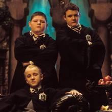 """Tom Felton alias """"Draco Malfoy"""" mit Jamie Waylett als """"Vincent Crabbe"""" und Josh Herdman (rechts) als """"Gregory Goyle"""""""