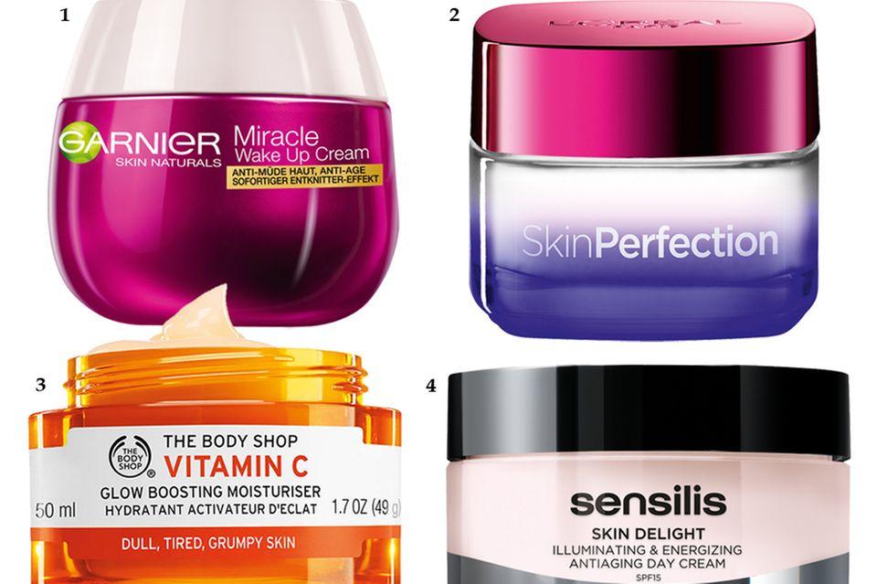 """1. Entknitternde Reisextrakte """"Miracle Wake up Cream"""" von Garnier, 50 ml, ca. 10 Euro; 2. Enthält Vitamin CG """"SkinPerfection Anti-Müdigkeitsnachtpflege"""" von L'Oréal Paris, 50 ml, ca. 14 Euro; 3. Mit der Vitamin-C-Bombe Camu-Camu """"Vitamin C Glow Boosting Moisturiser"""" von The Body Shop, 50 ml, ca. 26 Euro; 4. Goji gegen Ermüdungserscheinungen """"Skin Delight Tagescreme LSF 15"""" von Sensilis, 50 ml, ca. 39 Euro"""