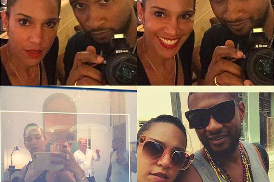 Zeigt Usher auf diesen Urlaubsfotos seinen Ehering?