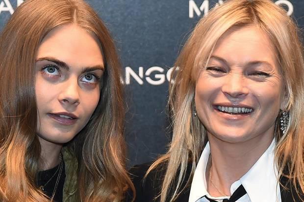 Cara Delevingne und Kate Moss während der Fashion Week in Mailand.