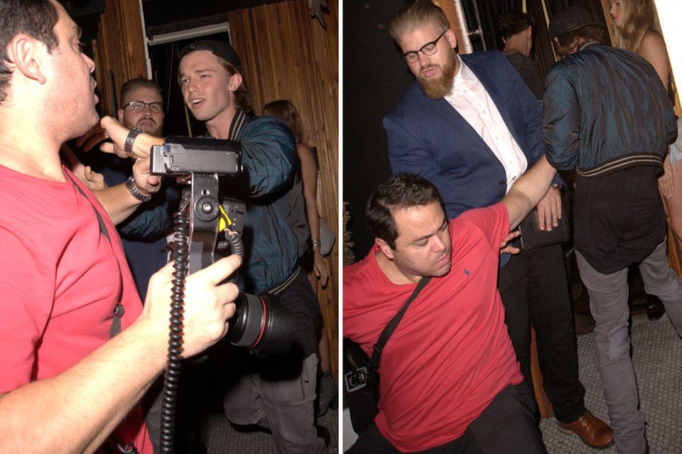 """Als Patrick Schwarzenegger am Wochenende bei der Partylocation """"The Nice Guy"""" ankommt, legt er sich mit einem Fotografen an. Der Paparazzo zieht den Kürzeren: Er wird geschubst und fällt hin."""