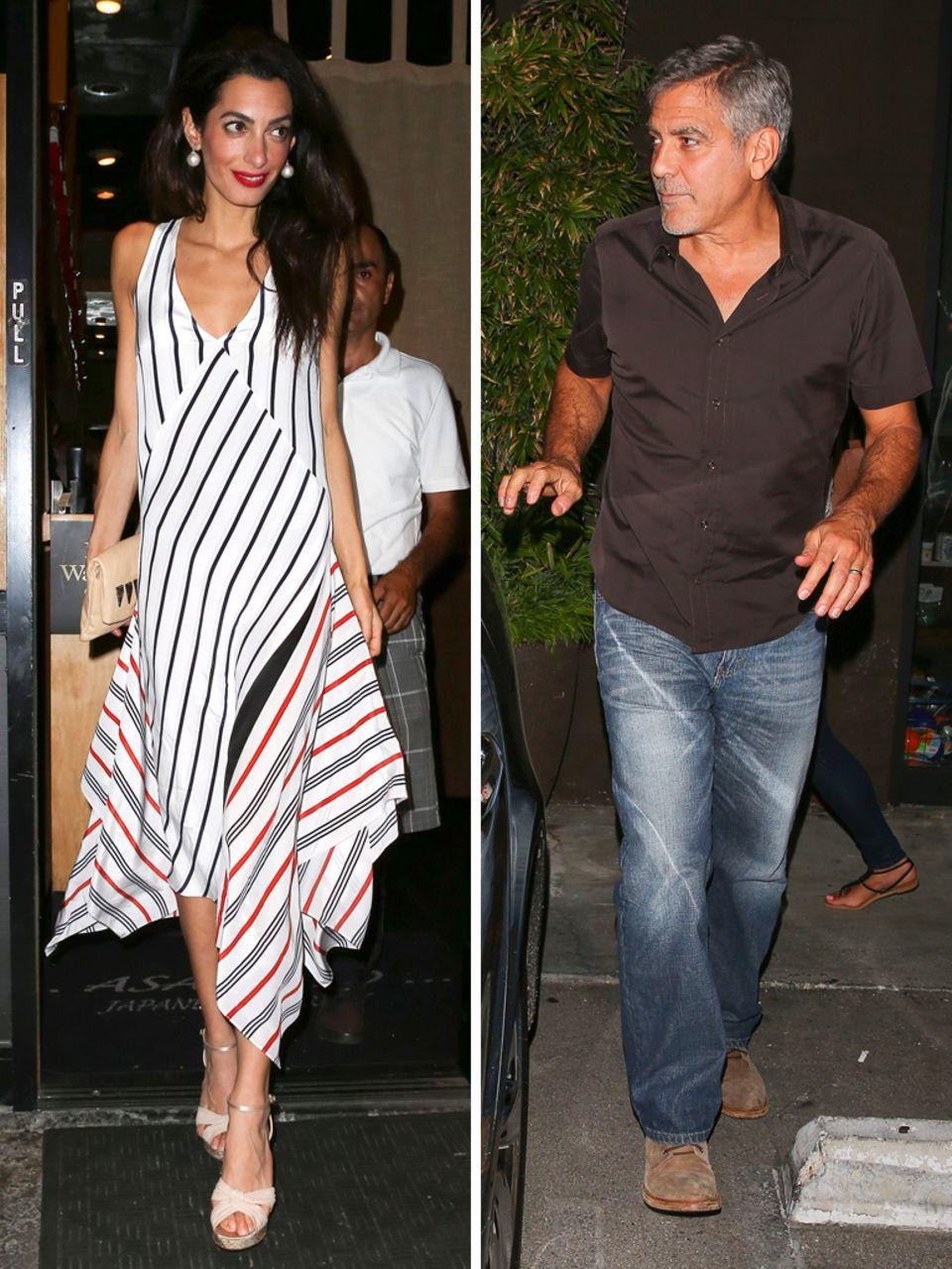Während Amal Clooney in einem tollen Outfit beim Dinnerdate überzeugt, hält sich George bei seiner ersten Hochzeitstagfeier modisch eher zurück. Auf zu schicke Kleidung verzichten jedoch beide. Schließlich wollen sie einen gemütlichen Abend miteinander verbringen.