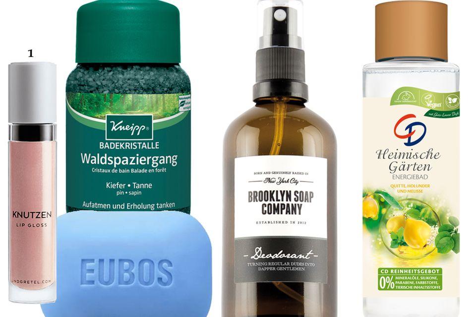 """1. """"Knutzen – Apricot Shimmer"""" von Und Gretel, ca. 34 Euro; 2. """"Badekristalle Waldspaziergang"""" von Kneipp, 500 g, ca. 6 Euro; 3. """"Fest Waschstück"""" von Eubos, 125 g, ca. 3 Euro; 4. """"Deodorant"""" von Brooklyn Soap Company, 100 ml, ca. 18 Euro; 5. """"Heimische Gärten"""" von CD, 400 ml, ca. 3 Euro"""