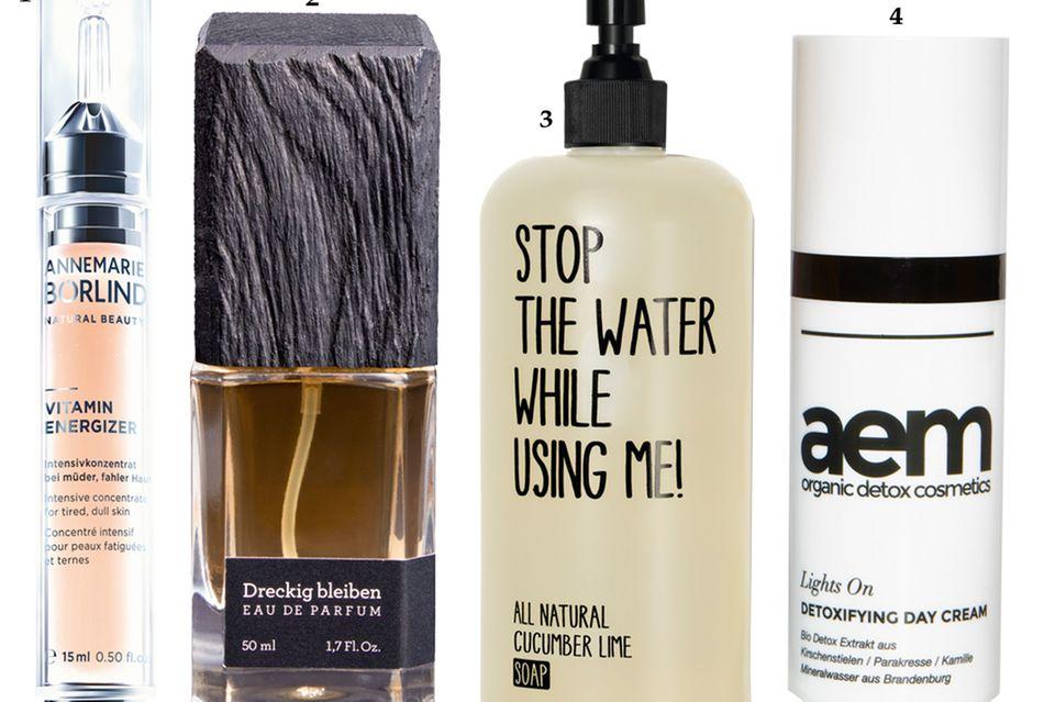 """1. """"Vitamin Energizer"""" von Annemarie Börlind, 15 ml, ca. 44 Euro; 2. """"Dreckig Bleiben"""" von Atelier PMP, EdP, 50 ml, ca. 120 Euro; 3. """"Cucumber Lime Soap"""" von Stop the Water While Using Me, 200 ml, ca. 10 Euro; 4. """"Lights On Detoxifying Day Cream"""" von Aem Cosmetics, 30 ml, ca. 42 Euro"""