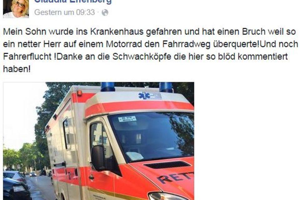 Claudia Effenberg: Claudia Effenberg ist total geschockt von dem Fehlverhalten des Unfallverursachers und musste dieses schlimme Erlebnis auch mit ihren Facebook-Fans teilen.