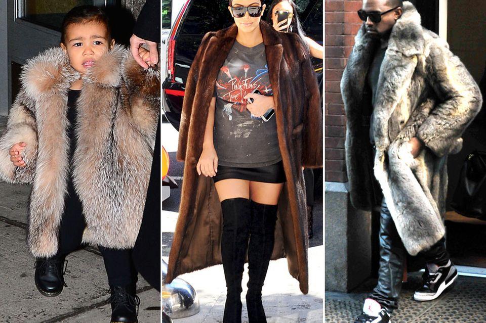 Klein North, Kim Kardashian und Kanye West hüllen sich oft in bodenlange Pelzmäntel und das scheinbar zu jeder Jahreszeit, wenn man sich das ganze Outfit von Kim genauer anschaut.