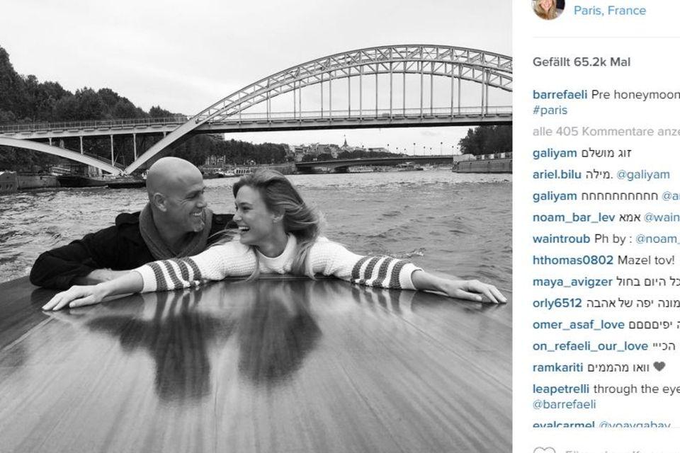 Super verliebt zeigen sich Bar Refaeli und ihr Mann Adi Ezra auf ihrem ersten Schnappschuss aus den Flitterwochen