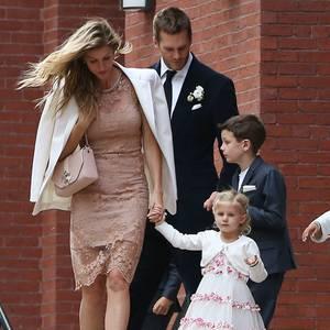 Gisele Bündchen und Tom Brady mit ihren Kindern