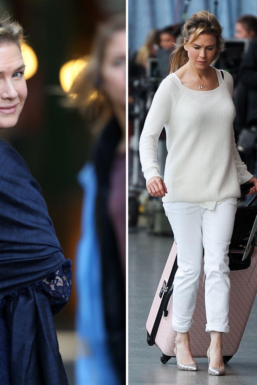 Sehr smart, Bridget Jones! Eine sehr hübsche Renee Zellweger präsentiert im neuen Film einen gereiften und erwachseneren Fashionstyle für ihren Filmcharakter als in den Vorgängerfilmen: Zum nachtblauen Spitzenkleid mit Seidenstola trägt sie eine Paillettenclutch und Slingpumps von Dolce&Gabbana. In einer anderen Filmszene zeigt sie sich clean und stylisch am Flughafen in Offwhite mit roséfarbenem Koffer.