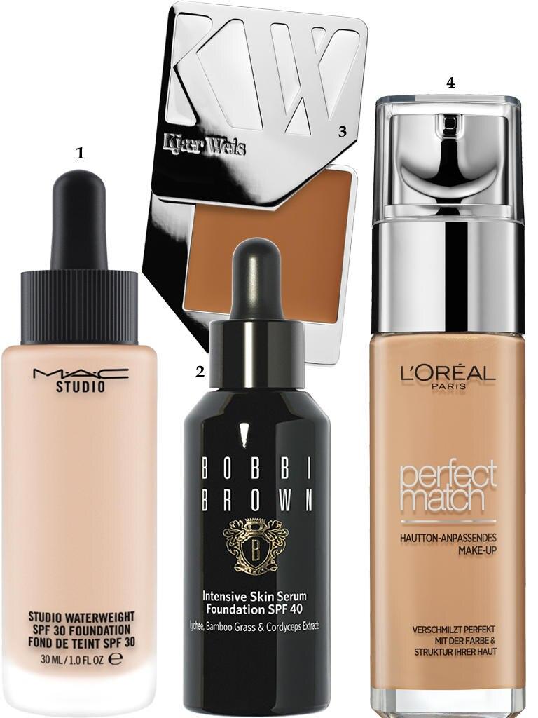 """1. """"Studio Waterweight SPF 30 Foundation"""" von Mac, 30 ml, ca. 35 Euro; 2. """"Intensive Skin Serum Foundation SPF 40"""" von Bobbi Brown, 30 ml, ca. 58 Euro; 3. """"Cream Foundation – Delicate"""" von Kjaer Weiss, ca. 58 Euro, z. B. über www.amazingy.com; 4. """"Perfect Match Le Teint"""" von L'Oréal Paris, 30 ml, ca. 12 Euro"""