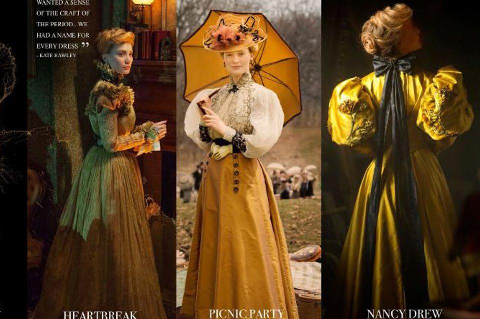 """Die Kleider von Mia Wasikowskas Charakter """"Edith Cushing"""" hat Kate Hawley gemeinsam mit ihrem Team entwickelt. Jeder Entwurf spiegelt eine Eigenschaft oder eine Entwicklung wider, die Edith im Laufe des Filmes durchlebt."""