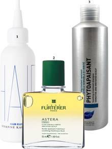 """1. Beseitigt Irritationen und verbessert das Wachstum: """"Hair Elixir"""" von Susanne Kaufmann, 100 ml, ca. 86 Euro; 2. Wird als Pre-Wash-Kur vor dem Shampoonieren aufgetragen und beruhigt die Kopfhaut nachhaltig: """"Astera Fresh"""" von Rene Furterer, 50 ml, ca. 29 Euro; 3. Reinigt Haar und Kopfhaut besonders schonend: """"Phytoapaisant Shampoo"""" von Phyto, 200 ml, 13 Euro"""