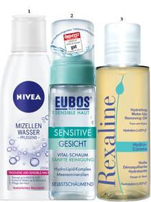 """1. Schmutzmagnet mit Mandelöl: """"Mizellen-Wasser – Pflegend"""" von Nivea, 200 ml, ca. 4 Euro; 2. Mit Jojoba-, Soja und Nussöl: """"Hydra-Caress Hydrating Make-up Removing Oil"""" von Rexaline, 100 ml, ca. 25 Euro, exklusiv bei Douglas; 3. Mild schäumend, aber nicht austrocknend: """"Sensitive Gesichtsreinigung Vital-Schaum"""" von Eubos, 150 ml, ca. 11 Euro"""