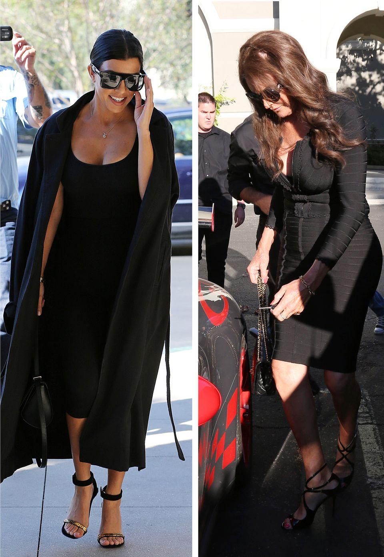 Unter Kourtney Kardashians weites Kleid passt ein falscher Babybauch, bei Caitlyn Jenner eher weniger.
