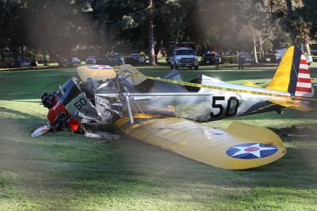 Harrison Fords Flugzeug nach dem Absturz