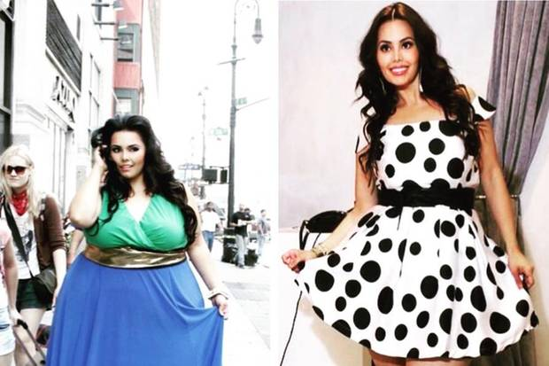 Das Übergroßen-Model Rosie Mercado wog vor ihrer Abnahme 205 Kilo und trug Kleidergröße 60 (links) - jetzt ist sie 100 Kilo leichter!