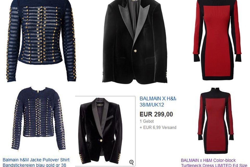 """eBay muss nicht immer eine teure Alternative für Zuspätkommer sein: Das blaue Sweatshirt kostet regulär 129 Euro, der schwarze Blazer 149 Euro und das rote Rollkragenkleid 60 Euro. Somit haben Fashion-Fans eine gute Chance, im Netz noch auf bezahlbare Teile der """"H&M x Balmain""""-Kollektion zu stoßen."""