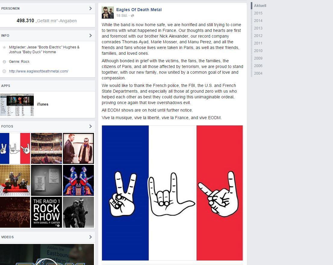 Eagles Of Death Metal: Die Eagles Of Death Metal meldeten sich nun über Facebook zurück.