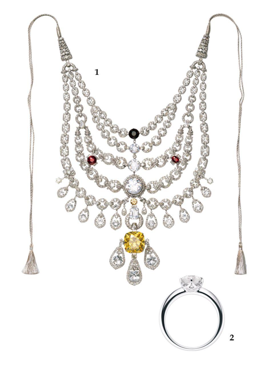 """1. 2930 Diamanten (1000 Karat) schmücken das Collier, das Cartier 1928 für einen indischen Maharadscha anfertigte; 2.Juwelier Wempe präsentiert jetzt einen eigenen, zertifizierten Schliff – den """"Wempe Cut"""" mit spektakulären 137 Facetten (Solitaire Ring """"Splendora by Kim"""", ab ca. 17.280 Euro)"""