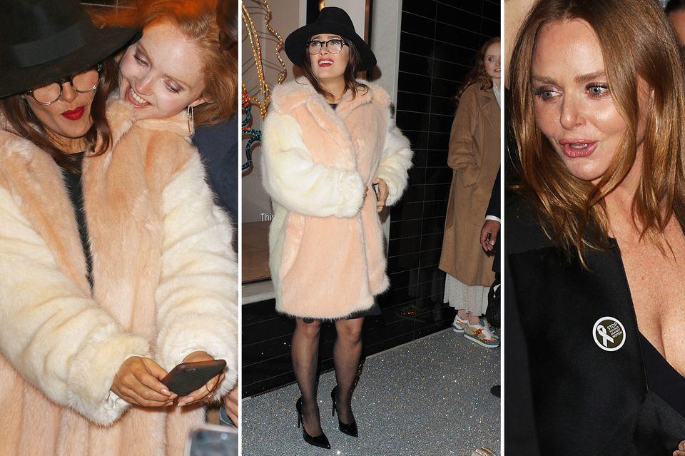 Was für ein Spaß! Modedesignerin Stella McCartney hat in ihrer Party-Goody-Bag doch glatt eine kuschelige Überraschung für die Stars versteckt: natürlich nicht aus tierischem Material, sondern aus Webpelz ist die stylische Jacke, für die man doch eine gewisse Körpergröße braucht.