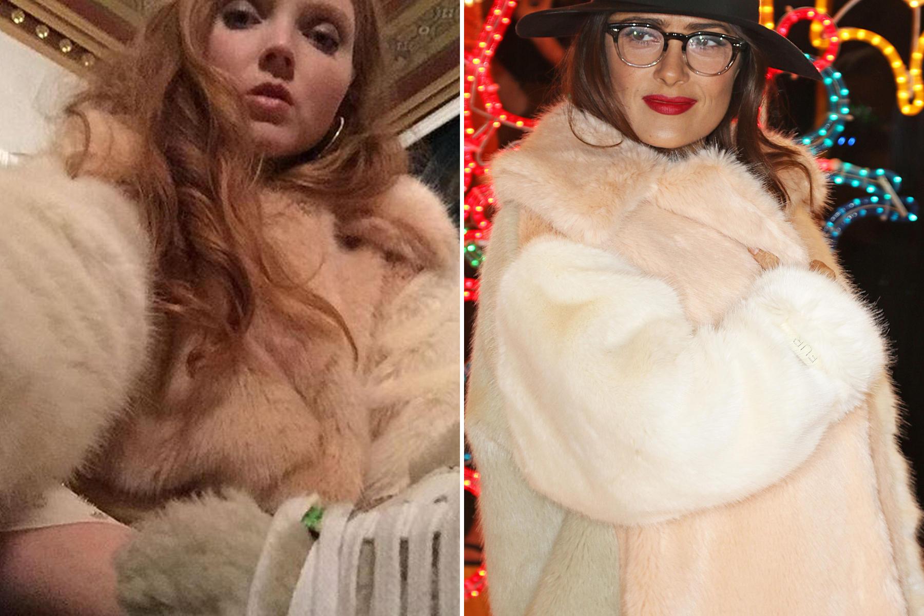 """179 Zentimeter Körpergröße und der Kuschellook macht Sinn: Das britische Model Lily Cole zog kurzerhand das Geschenk über ihr transparentes Feenkleid, zu dem sie Sneakers trug. Und Salma Hayek fühlte sich einfach wohl im """"Wren Coat"""" aus der aktuellen Herbst-Winter-Kollektion von Stella McCartney."""
