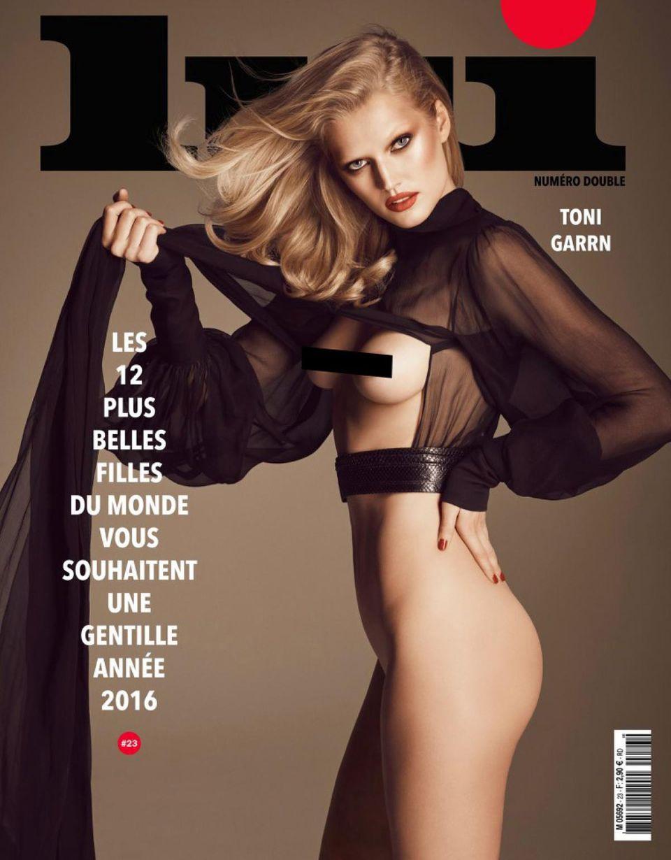 """Für die Dezember-/Januar-Ausgabe des französischen Männermagazins """"Lui"""" posiert Toni Garrn so lasziv wie nie."""