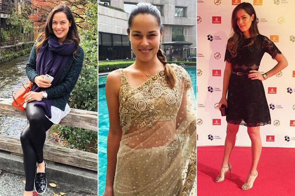 """Stylische Weltenbummlerin: Ana Ivanovic präsentiert in Kyoto eine orangefarbene """"Kelly Bag"""" von Hermès, in Indien einen edlen, goldenen Sari und in Dubai ein verführerisches Spitzenkleid, das ihre tolle Figur betont."""