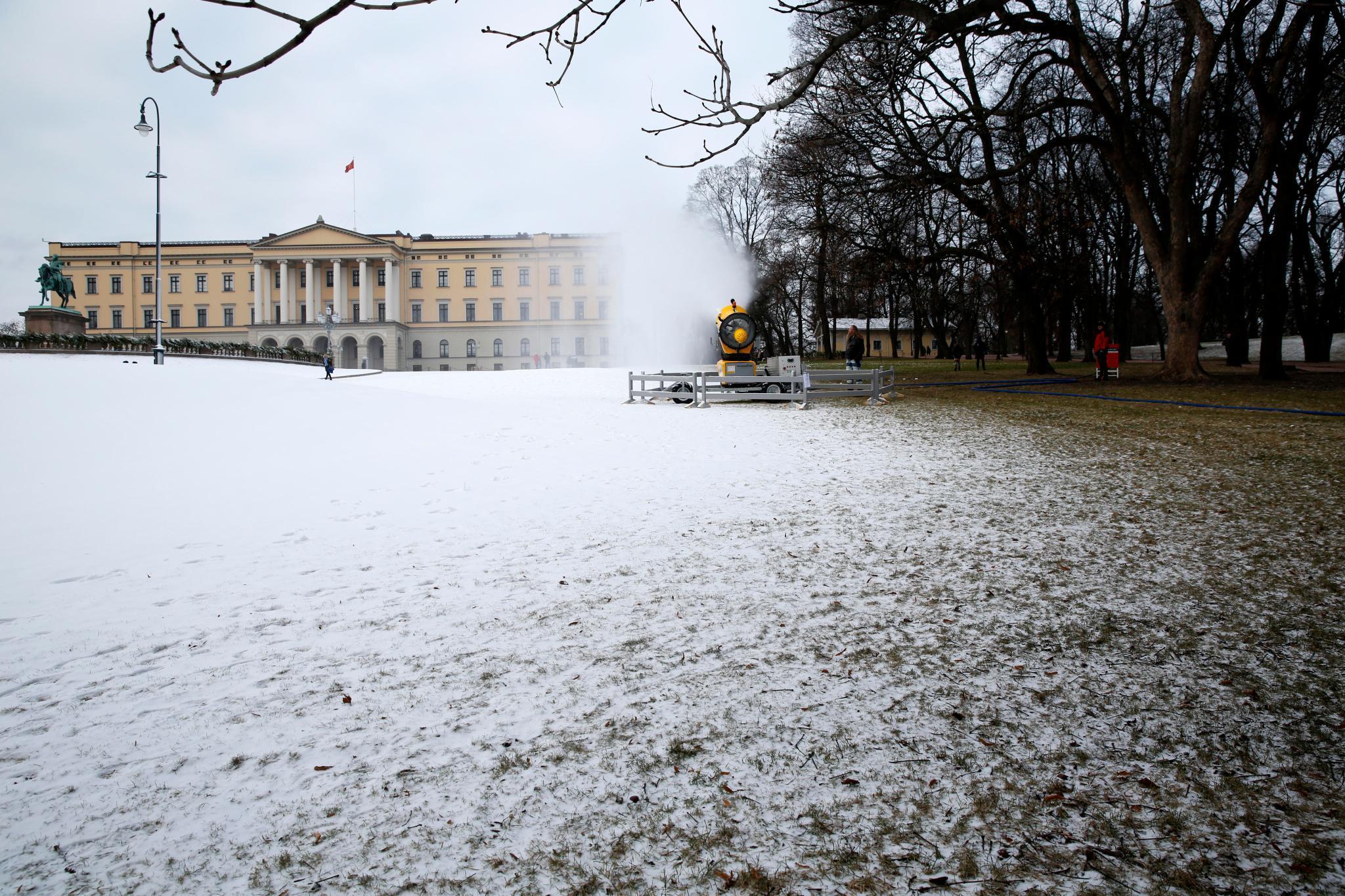 Stadtschloss Oslo samt Schneekanone