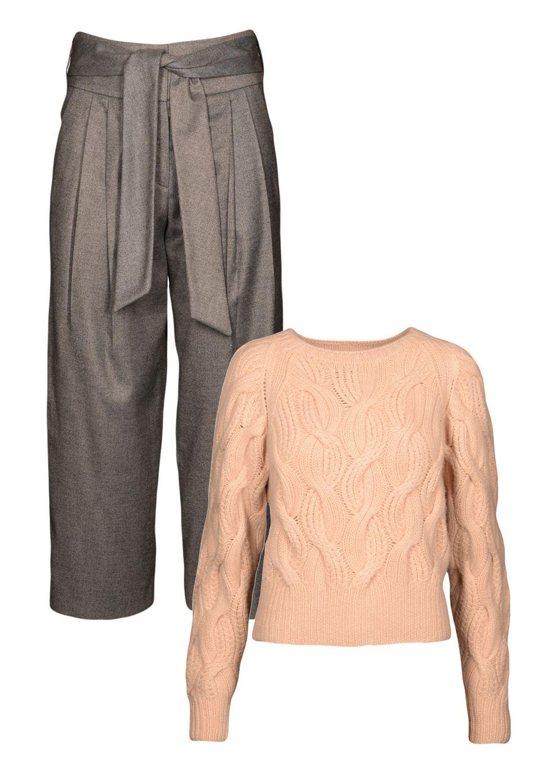 """Zwei der Looks, die am 20.1. bei der Berliner Fashion Week unter dem Label TMNY """"curated by Catherine Hummels"""" präsentiert werden. Die Culotte kostet 139 Euro, der Kaschmirpullover 999 Euro"""