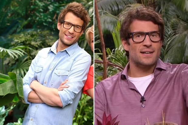 """Auf der linken Seite ein Bild von Daniel Hartwich in der letzten Staffel von """"Ich bin ein Star - holt mich hier raus"""". Im Vergleich zu aktuellen Aufnahmen sieht die Frisur des Moderators tatsächlich verändert aus. Oder liegt es nur an der hohen Luftfeuchtigkeit im australischen Dschungel?"""