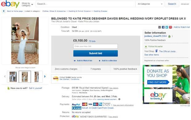 """Für echte Katie Price-Fans ein wahrgewordener Traum: Das Hochzeitskleid des britischen It-Girls steht auf """"ebay"""" zum Verkauf."""