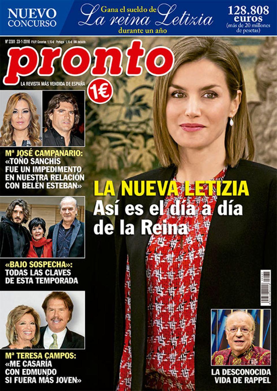 """""""Gewinne Königin Letizias Jahresgehalt"""" heißt es auf der aktuellen Ausgabe der """"Pronto""""."""