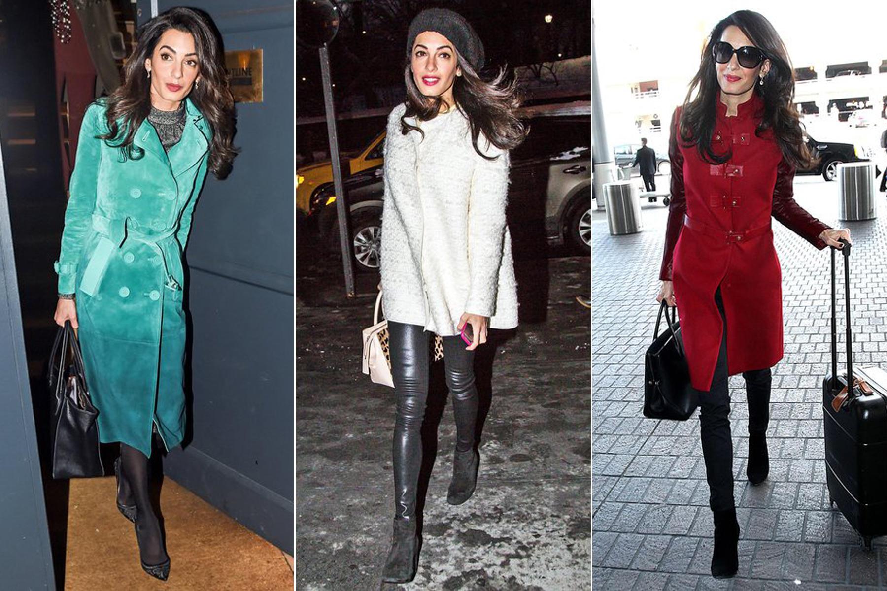 Luxus am laufenden Band: Der grüne Burberry-Mantel kostet schlappe 5500 Euro, der cremeweiße Bouclé-Mantel von Giambattista Vallli ist für ca. 1840 Euro zu haben und den roten Statement-Coat von Versace ließ sich Amal Clooney knapp 1765 Euro kosten.