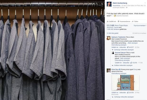 So richtig farbenfroh ist der Kleiderschrank von Facebook-Gründer Mark Zuckerberg nicht.