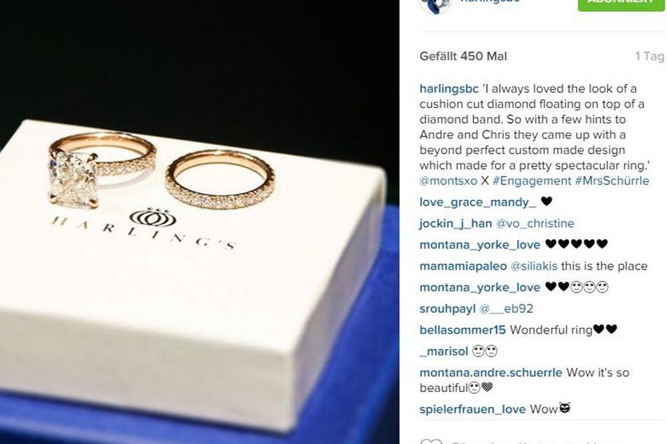 Nach einigen kleinen Hinweisen André gegenüber, scheint dieser schließlich Montanas Traum-Verlobungsring ausgesucht zu haben: einen Diamant im Kissen-Schliff, auf einem mit Diamanten rundherum besetzten Ring.