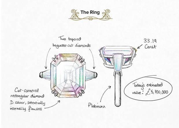 Unglaubliche 33,19 Karat hat der riesige Diamant im Verlobungsring von Elizabeth Taylor, der heute ihren Namen trägt.