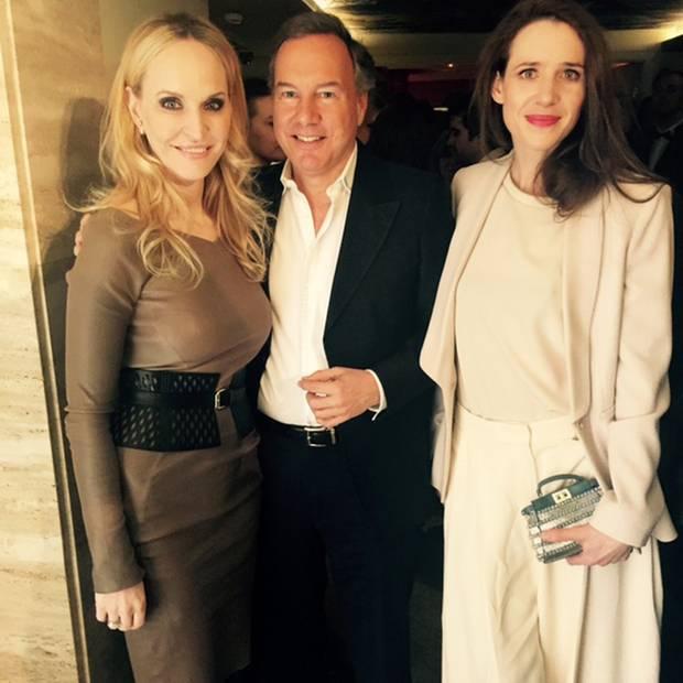"Anne Meyer-Minnemann (GALA), Nico Hofmann (UFA) und Julia Malik bei der ""Berlin Opening Night"""