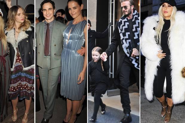 Die Schwestern Immy und Suki Waterhouse, Designer Zac Posen und Katie Holmes, David Beckham mit Töchterchen Harper und TV-Starlet Kim Kardashian haben sich allesamt für die Fashion Week New York entschieden.