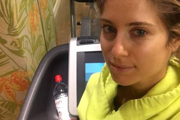 """Cathy sportliches Morgen-Ritual: """"Erstmal geht es auf ?s Laufband und anschließend mache ich ein paar Übungen. Ich habe Yoga für mich entdeckt."""""""