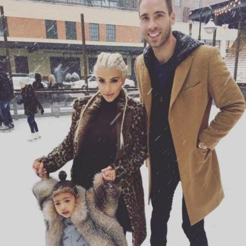 North West mit Mama Kim Kardashian und Simon Huck beim Schlittschuh laufen in New York