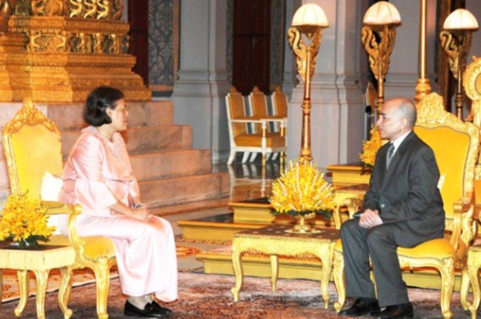 Royale Prachtentfaltung bei der Audienz im königlichen Palast.