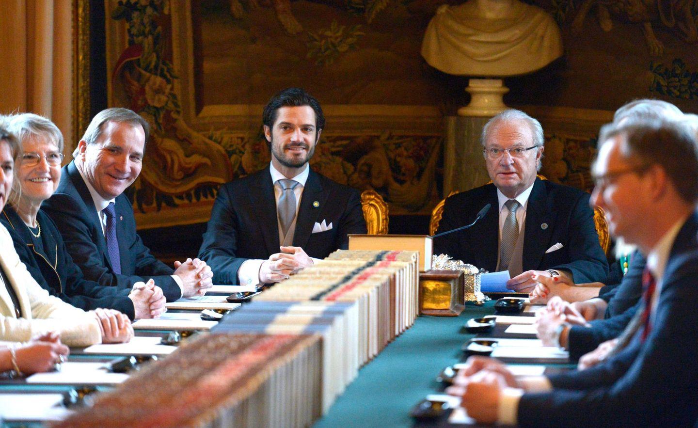 Hier verkündet König Carl Gustaf den Namen der Nummer drei der schwedischen Thronfolge vor dem Parlament