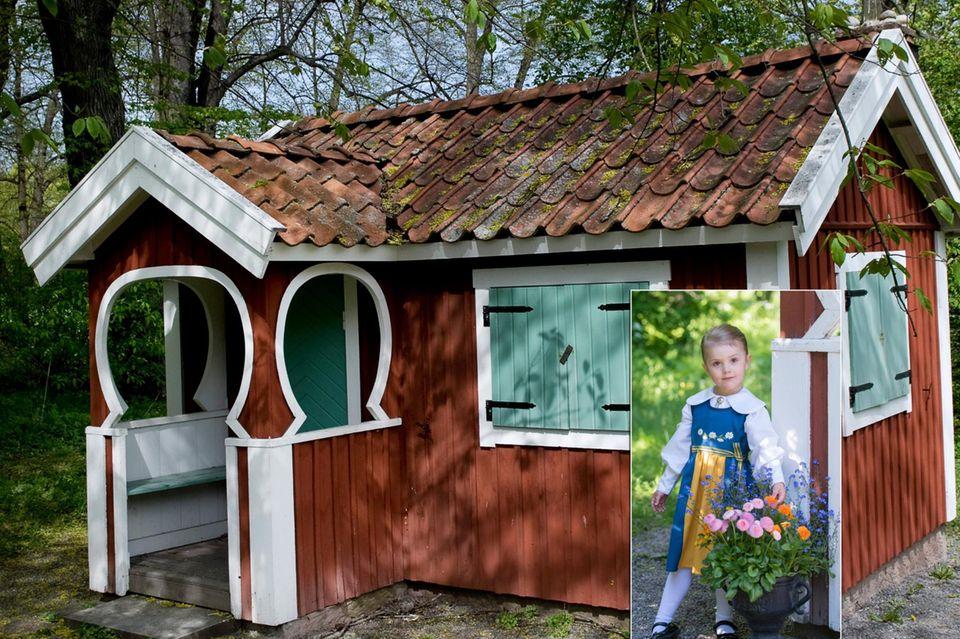 Prinzessin Estelle mit ihrem Spielhaus auf Schloss Haga. Schon König Carl Gustaf spielte mit seinen Schwestern als Kind in dem roten Häuschen